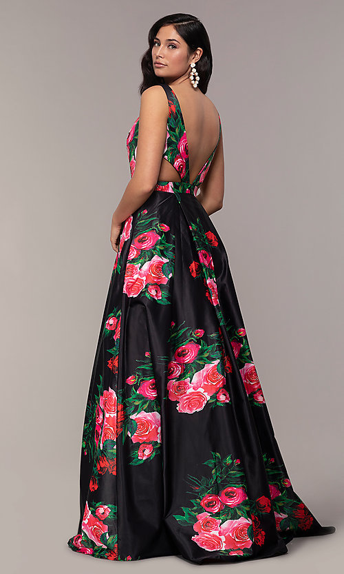 Image of long deep-v-neck a-line floral-print formal dress. Style: JO-JVN-JVN59146 Detail Image 3