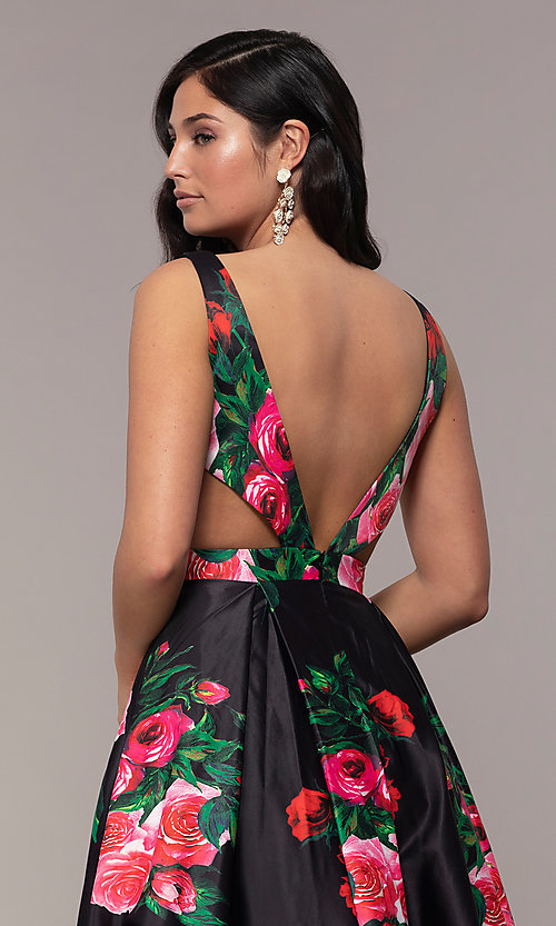 Image of long deep-v-neck a-line floral-print formal dress. Style: JO-JVN-JVN59146 Detail Image 5