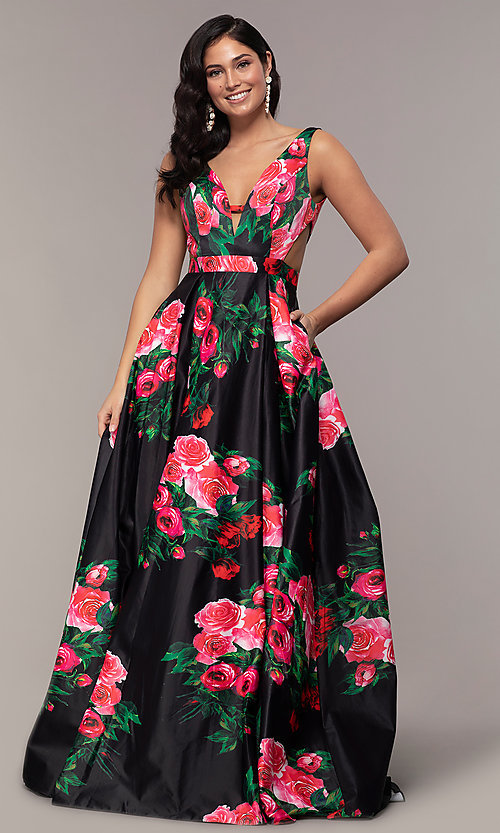 Image of long deep-v-neck a-line floral-print formal dress. Style: JO-JVN-JVN59146 Detail Image 6
