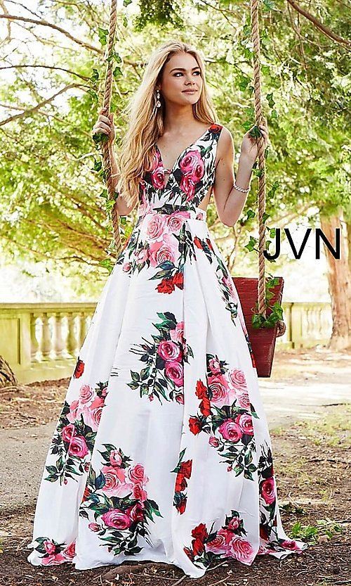 Image of long deep-v-neck a-line floral-print formal dress. Style: JO-JVN-JVN59146 Front Image