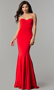 Image of JVNX by Jovani strapless long red prom dress. Style: JO-JVNX58022 Back Image