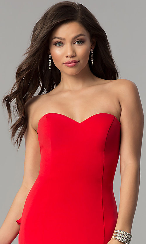 Image of JVNX by Jovani strapless long red prom dress. Style: JO-JVNX58022 Detail Image 1