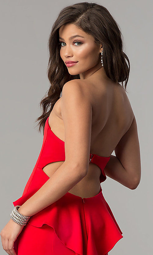 Image of JVNX by Jovani strapless long red prom dress. Style: JO-JVNX58022 Detail Image 2