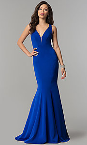 Image of open-back long JVNX by Jovani mermaid prom dress. Style: JO-JVNX58011 Front Image