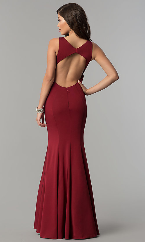 Image of open-back long JVNX by Jovani mermaid prom dress. Style: JO-JVNX58011 Back Image