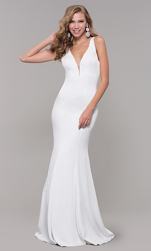 Image of open-back long JVNX by Jovani mermaid prom dress. Style: JO-JVNX58011 Detail Image 1