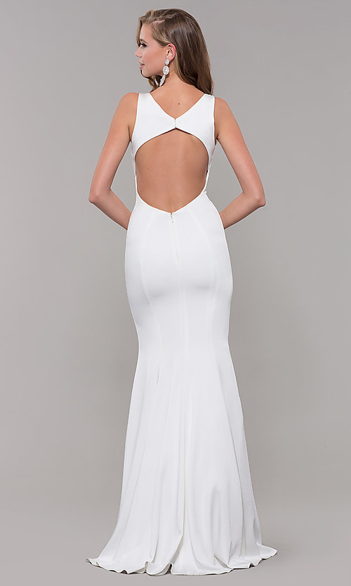 Image of open-back long JVNX by Jovani mermaid prom dress. Style: JO-JVNX58011 Detail Image 2