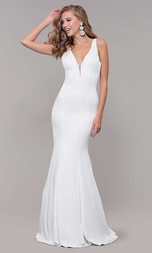 Image of open-back long JVNX by Jovani mermaid prom dress. Style: JO-JVNX58011 Detail Image 3