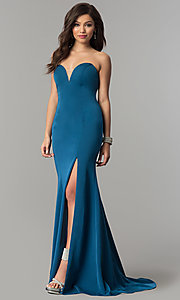 Image of JVNX by Jovani long strapless sweetheart prom dress. Style: JO-JVNX51327 Front Image