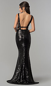 Image of deep-v-neck long sequin prom dress with open back. Style: AL-60036 Back Image