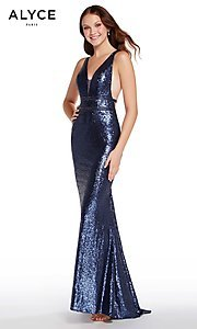 Image of deep-v-neck long sequin prom dress with open back. Style: AL-60036 Detail Image 2