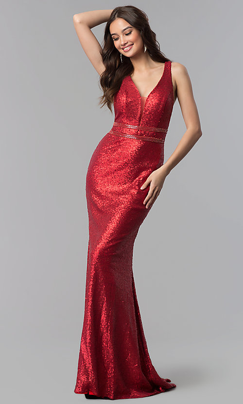 Image of deep-v-neck long sequin prom dress with open back. Style: AL-60036 Front Image
