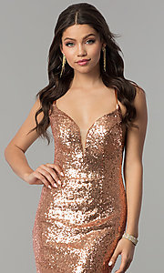Image of open-back sequin long v-neck formal prom dress. Style: AL-60032 Detail Image 1