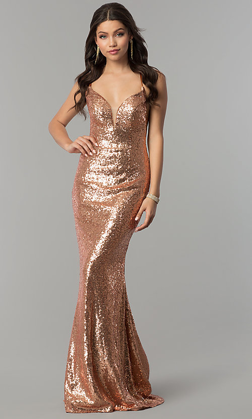 Image of open-back sequin long v-neck formal prom dress. Style: AL-60032 Front Image