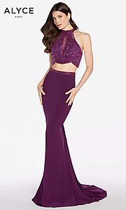 Image of long racer-front sleeveless Alyce prom dress. Style: AL-60014 Detail Image 2