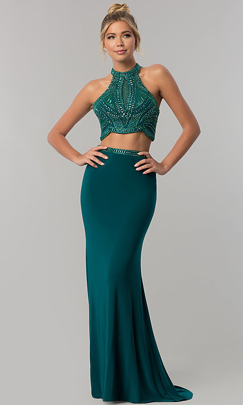 Image of long racer-front sleeveless Alyce prom dress. Style: AL-60014 Front Image