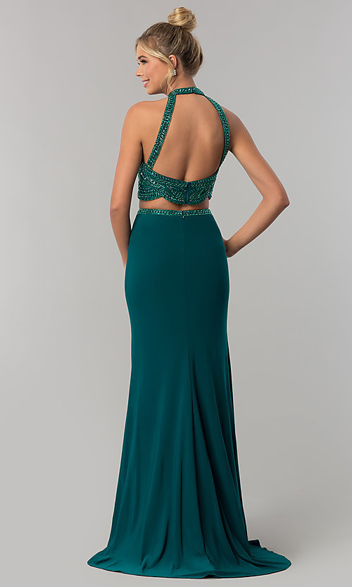 Image of long racer-front sleeveless Alyce prom dress. Style: AL-60014 Back Image