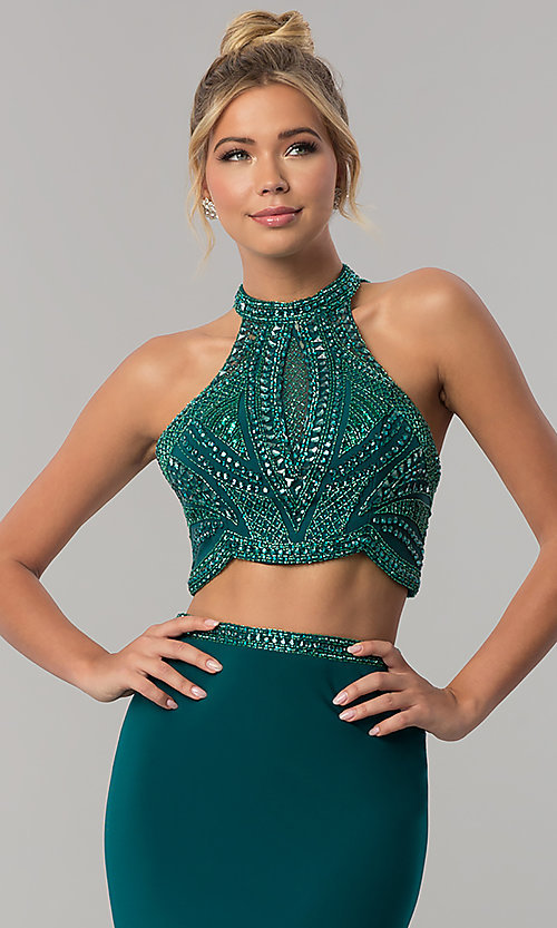 Image of long racer-front sleeveless Alyce prom dress. Style: AL-60014 Detail Image 1