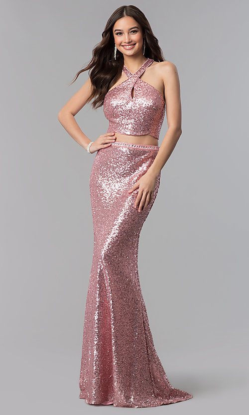 Image of cut-out sequin two-piece long formal Prom dress. Style: AL-60030 Front Image