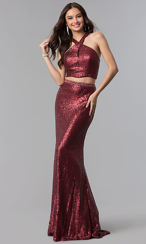 Image of cut-out sequin two-piece long formal Prom dress. Style: AL-60030 Back Image