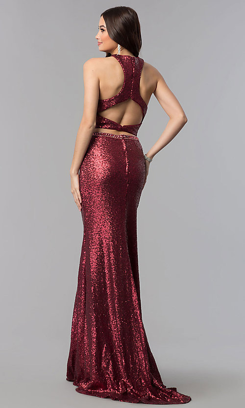 Image of cut-out sequin two-piece long formal Prom dress. Style: AL-60030 Detail Image 3