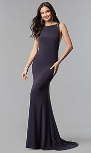 Image of long open-back Alyce formal prom dress with beading. Style: AL-60005 Detail Image 3