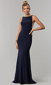 Image of long open-back Alyce formal prom dress with beading. Style: AL-60005 Front Image