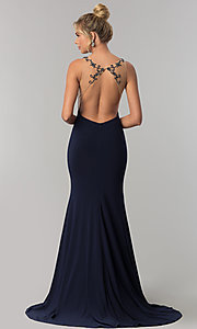 Image of long open-back Alyce formal prom dress with beading. Style: AL-60005 Back Image