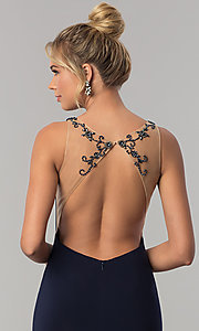 Image of long open-back Alyce formal prom dress with beading. Style: AL-60005 Detail Image 1