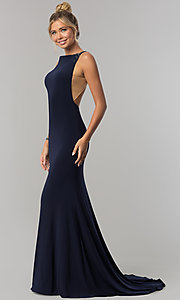 Image of long open-back Alyce formal prom dress with beading. Style: AL-60005 Detail Image 2