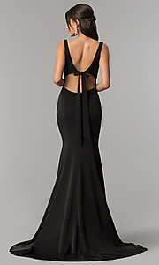 Image of Alyce v-neck long prom dress with tied open back.  Style: AL-60002 Back Image