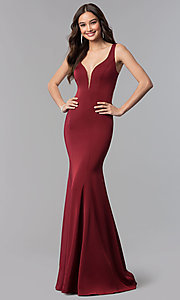 Image of Alyce v-neck long prom dress with tied open back.  Style: AL-60002 Detail Image 1