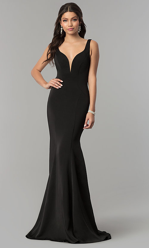 Image of Alyce v-neck long prom dress with tied open back.  Style: AL-60002 Front Image