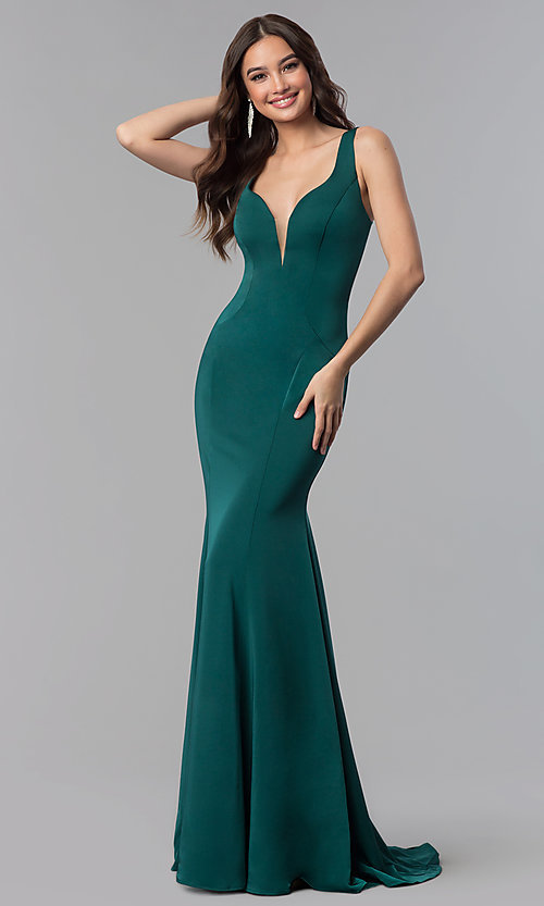 Image of Alyce v-neck long prom dress with tied open back.  Style: AL-60002 Detail Image 3