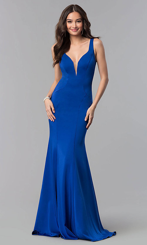 Image of Alyce v-neck long prom dress with tied open back.  Style: AL-60002 Detail Image 2