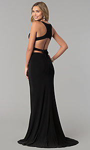 Image of open-racerback two-piece long prom dress.  Style: AL-60003 Back Image