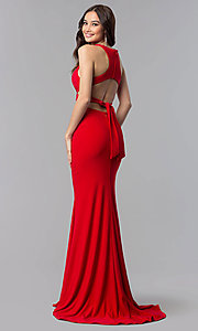 Image of open-racerback two-piece long prom dress.  Style: AL-60003 Detail Image 4