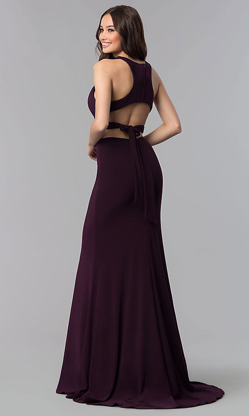 Image of open-racerback two-piece long prom dress.  Style: AL-60003 Detail Image 2