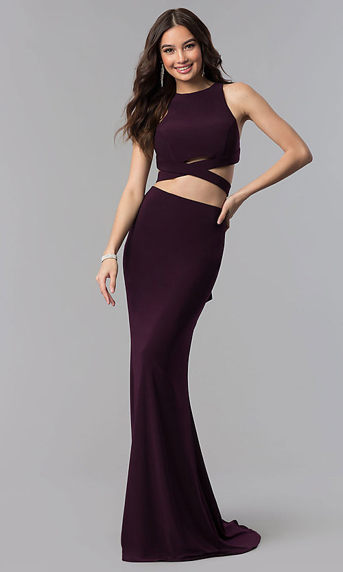Image of open-racerback two-piece long prom dress.  Style: AL-60003 Detail Image 1