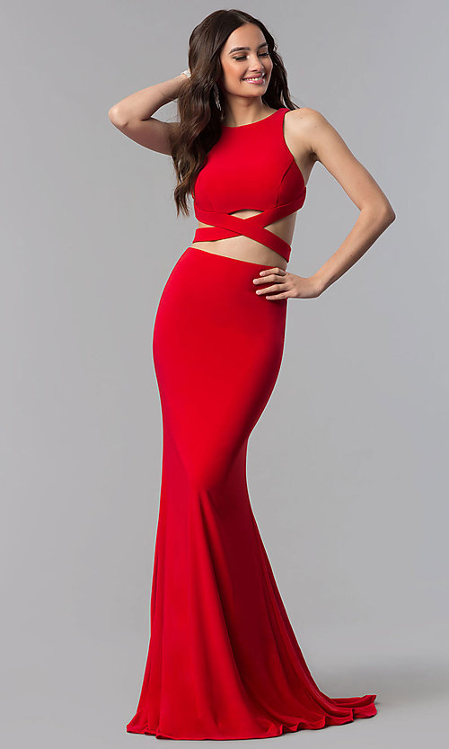Image of open-racerback two-piece long prom dress.  Style: AL-60003 Detail Image 3
