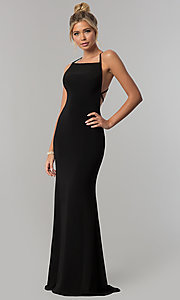 Image of open-back long prom dress with square neckline. Style: AL-60001 Detail Image 3