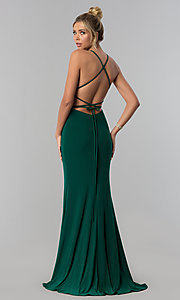 Image of open-back long prom dress with square neckline. Style: AL-60001 Front Image