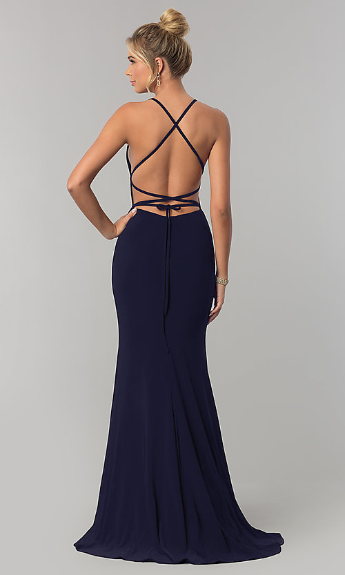 Image of open-back long prom dress with square neckline. Style: AL-60001 Detail Image 2