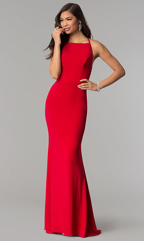 Image of open-back long prom dress with square neckline. Style: AL-60001 Back Image