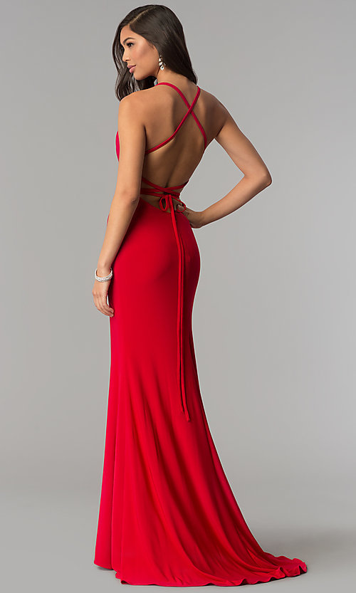 Image of open-back long prom dress with square neckline. Style: AL-60001 Detail Image 1