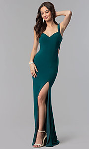 Image of Alyce long prom dress with cut-out open back. Style: AL-60000 Detail Image 3
