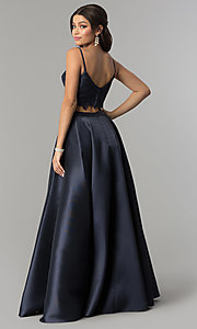 Image of Alyce two-piece long prom dress with lace crop top. Style: AL-60056 Back Image