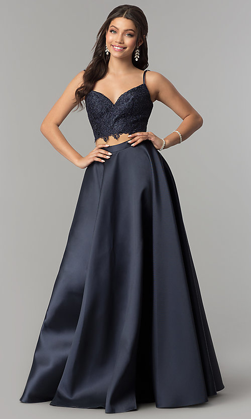 Image of Alyce two-piece long prom dress with lace crop top. Style: AL-60056 Front Image