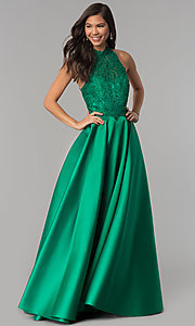Image of long a-line prom dress with high-neck lace bodice. Style: AL-60060 Detail Image 3