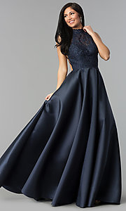 Image of long a-line prom dress with high-neck lace bodice. Style: AL-60060 Detail Image 1